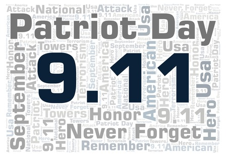 9 11 Patriot Day horizontal word cloud. Wordcloud made with text only. Stock Photo