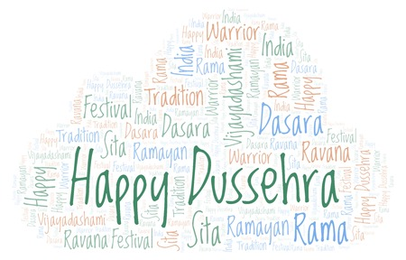Happy Dussehra word cloud. Wordcloud made with text only. Stock Photo