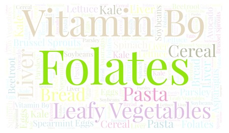 Folates horizontal word cloud. Wordcloud made with text only. Stock Photo
