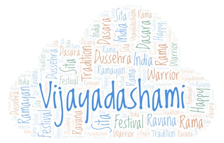 Vijayadashami  word cloud. Wordcloud made with text only. Stock Photo