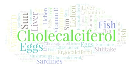 Cholecalciferol  word cloud. Wordcloud made with text only. Stok Fotoğraf
