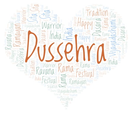Dussehra in a heart shape word cloud. Wordcloud made with text only. Stock Photo