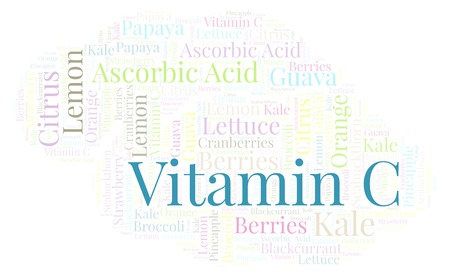 Vitamin C  word cloud. Wordcloud made with text only. Zdjęcie Seryjne