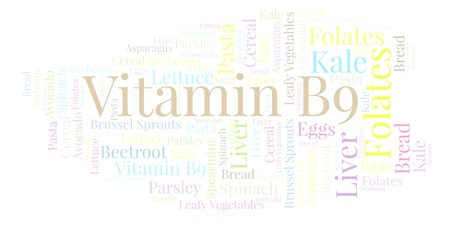 Vitamin B9  word cloud. Wordcloud made with text only.