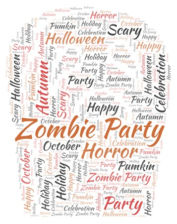 Zombie Party in a shape of gravestone  word cloud. Wordcloud made with text only.