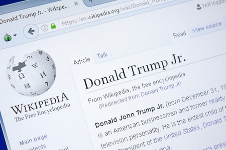 Ryazan, Russia - August 28, 2018: Wikipedia page about Donald Trump Jr on the display of PC