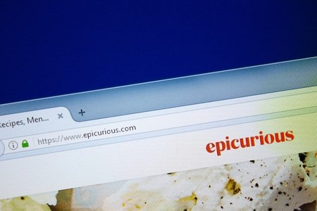 Ryazan, Russia - August 26, 2018: Homepage of Epicurious website on the display of PC, Url - Epicurious.com.