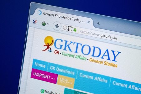 Ryazan, Russia - August 26, 2018: Homepage of Gk Today website on the display of PC, Url - GkToday.in. Editorial
