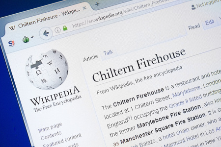 Ryazan, Russia - August 28, 2018: Wikipedia page about Chiltern Firehouse on the display of PC