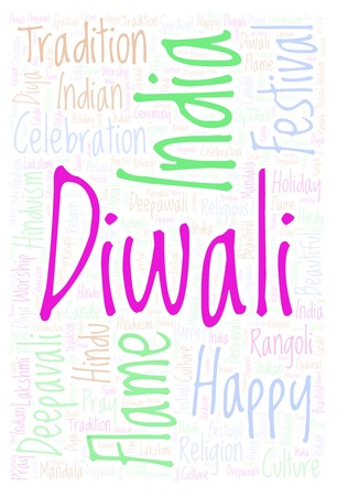 Diwali Vertical word cloud. Wordcloud made from letters and words only.