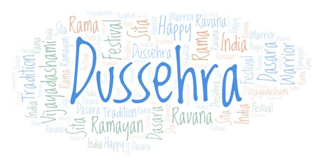 Dussehra in a heart shape  word cloud. Wordcloud made with text only.