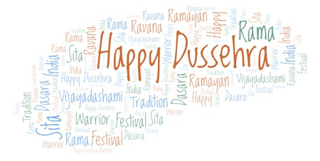 Happy Dussehra  word cloud. Wordcloud made with text only.