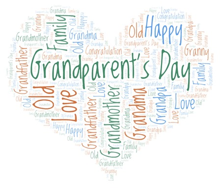 Grandparent's Day in a heart shape word cloud. Wordcloud made with text only. 免版税图像