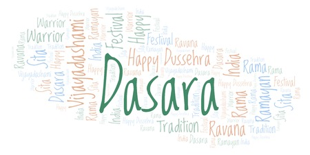 Dasara word cloud. Wordcloud made with text only. Stock Photo