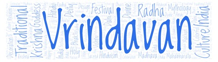 Vrindavan in banner form word cloud. Wordcloud made from letters and words only.