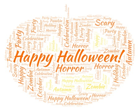 Happy Halloween in a shape of pumkin  word cloud. Wordcloud made with text only.
