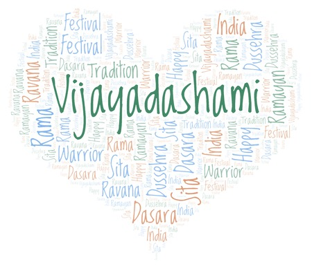 Vijayadashami in a heart shape word cloud. Wordcloud made with text only.
