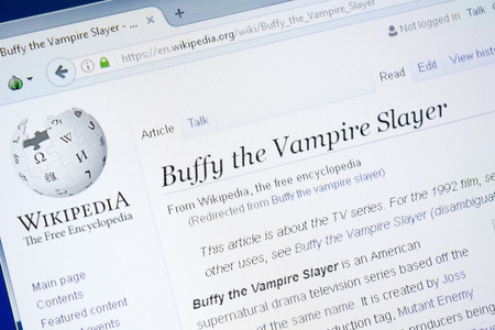 Ryazan, Russia - August 28, 2018: Wikipedia page about Buffy the Vampire Slayer on the display of PC