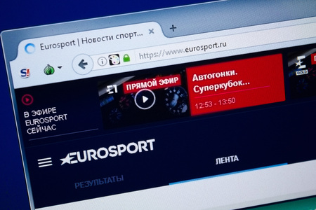 Ryazan, Russia - August 26, 2018: Homepage of Eurosport website on the display of PC, Url - Eurosport.ru.