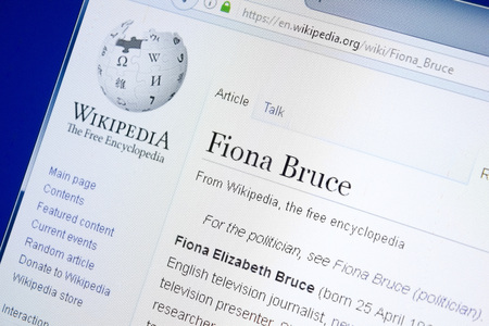 Ryazan, Russia - August 28, 2018: Wikipedia page about Fiona Bruce on the display of PC