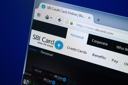 Ryazan, Russia - August 26, 2018: Homepage of Sbi Card website on the display of PC, Url - SbiCard.com.
