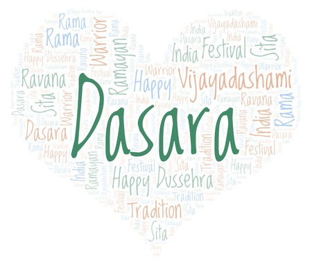 Dasara in a heart shape word cloud. Wordcloud made with text only.