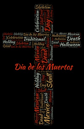Dia de los Muertos in a shape of christian cross on a black word cloud. Wordcloud made with text only. Stock Photo