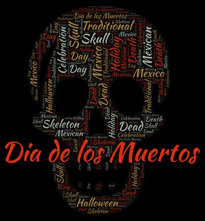 Dia de los Muertos in a shape of skull on black word cloud. Wordcloud made with text only.