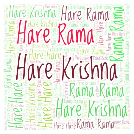 Hare Krishna word cloud. Wordcloud made from letters and words only.