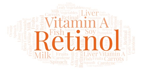 Retinol word cloud. Wordcloud made with text only. Stock Photo