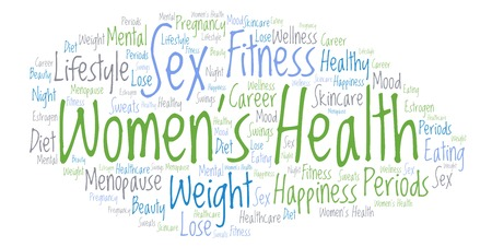 Women's Health word cloud - illustration made with text only. Stock Photo