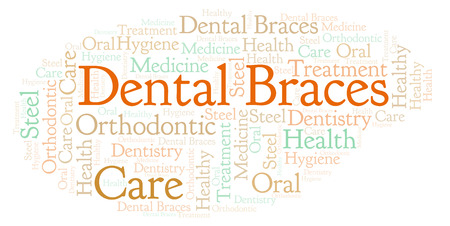 Dental Braces word cloud. Wordcloud made with text only.