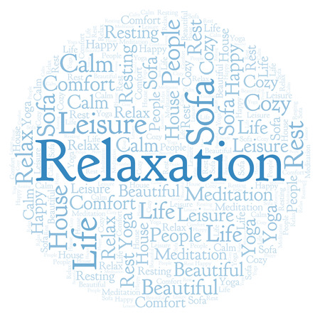 Relaxation in a circle shape word cloud. Wordcloud made with text only.