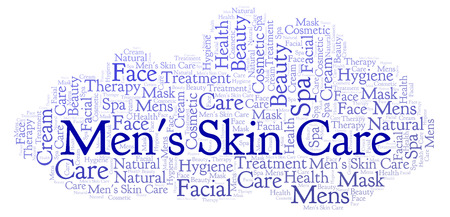 Mens Skin Care word cloud. Wordcloud made with text only. Stock Photo