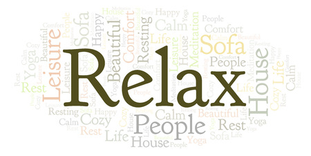 Relax word cloud. Wordcloud made with text only. Banco de Imagens