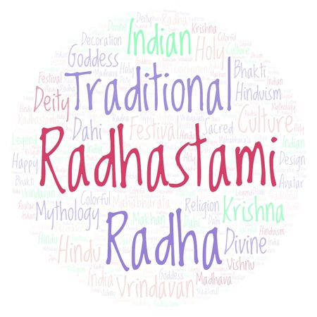 Radhastami in circle shape word cloud. Wordcloud made from letters and words only.
