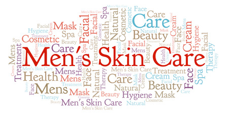 Mens Skin Care word cloud. Wordcloud made with text only. Stockfoto