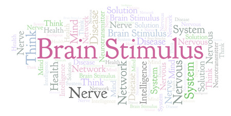 Brain Stimulus word cloud. Wordcloud made with text only. Фото со стока