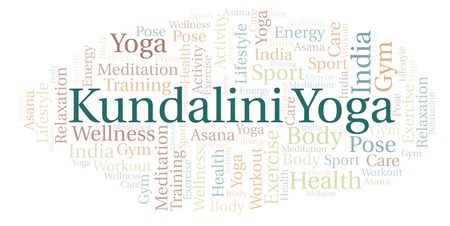 Kundalini Yoga word cloud. Wordcloud made with text only. Stock Photo