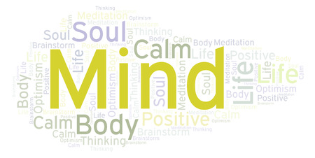 Mind word cloud. Wordcloud made with text only.