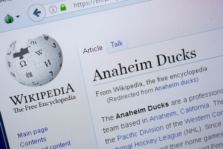 Ryazan, Russia - September 09, 2018 - Wikipedia page about Anaheim Ducks on a display of PC