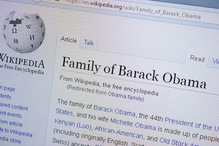 Ryazan, Russia - September 09, 2018 - Wikipedia page about Family of Barack Obama on a display of PC
