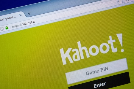 Ryazan, Russia - September 09, 2018: Homepage of Kahoot website on the display of PC, url - Kahoot.it.