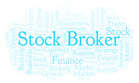 Stock Broker word cloud. Wordcloud made with text only. Stock Photo