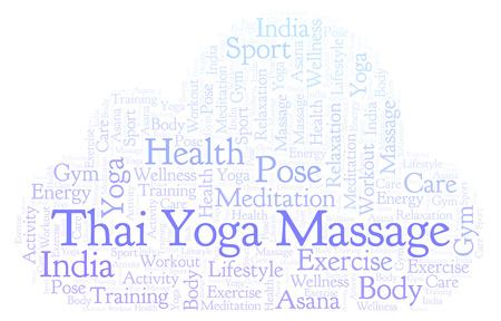 Thaise Yoga Massage woordwolk. Wordcloud gemaakt met alleen tekst.