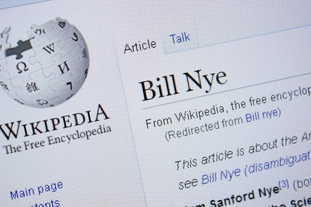 Ryazan, Russia - September 09, 2018 - Wikipedia page about Bill Nye on a display of PC