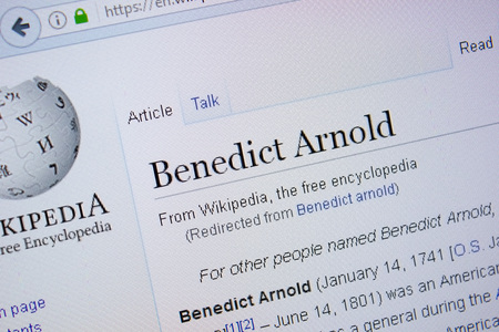Ryazan, Russia - September 09, 2018 - Wikipedia page about Benedict Arnold on a display of PC