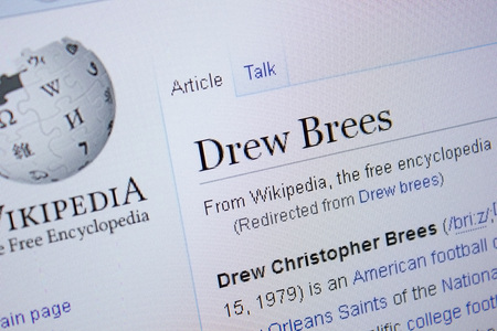 Ryazan, Russia - September 09, 2018 - Wikipedia page about Drew Brees on a display of PC