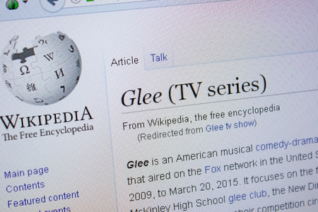 Ryazan, Russia - September 09, 2018 - Wikipedia page about Glee Tv Series on a display of PC