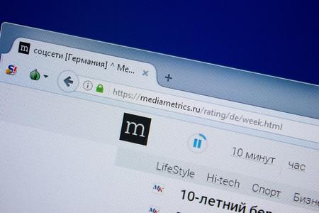 Ryazan, Russia - September 09, 2018: Homepage of Media Metrics website on the display of PC, url - MediaMetrics.ru.